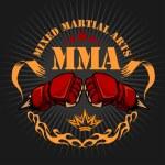 MMA mixed martial arts emblem badges. Vector emble...