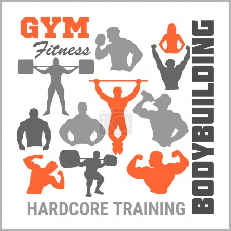 Bodybuilders silhouettes. Vector set.