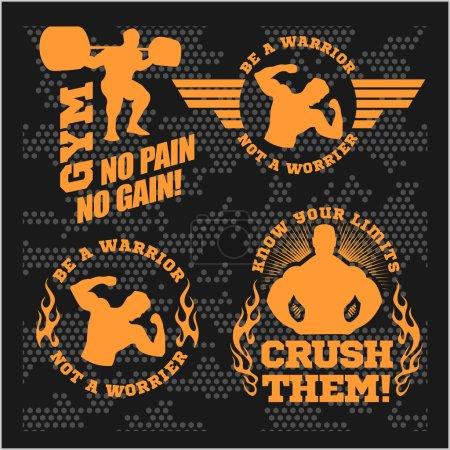 Set of modern Bodybuilding and fitness room logos, emblems, design elements.