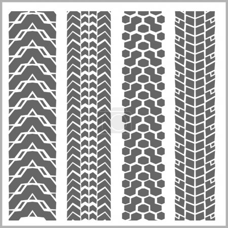 Car tire tracks - vector set