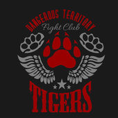 Fighting club emblem - tiger footprint and wings Labels badges logos Monochrome graphic style