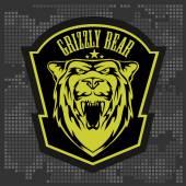 Grizzly bear head - vector emblem