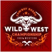 Wild west championship - cowboy rodeo Vector emblem