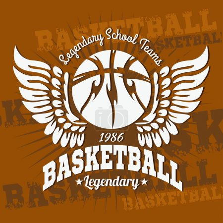 Illustration for Basketball emblem for T-shirts Prints - vector stock - Royalty Free Image
