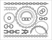 Chains set - icons parts circles of chains