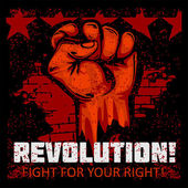 Fist of revolution Human hand up Fight for your right
