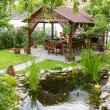 Beautiful Garden With A Little Pond And Backyard T...
