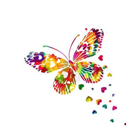 Illustration pour Papillon aquarelle abstrait coloré avec des cœurs sur un fond blanc. Saint-Valentin. Vecteur - image libre de droit