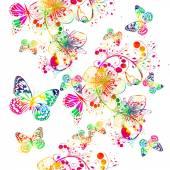 """Постер, картина, фотообои """"акварель радуги цветочная абстракция с бабочкой"""""""