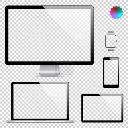 Set of realistic display, laptop, tablet computer, mobile phone, smart watch template on transparent background