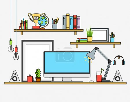 Line flat design mock up of modern workspace. Vector illustrations  posters, lamp, pencils, globe, winner cup, banners, speakers, cactus, coffee, tee, journals. Isolated pictograms and icons
