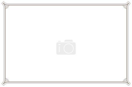 Illustration pour Vieux cadre vintage. Rectangle floral rétro. Musée antique décoratif photo bordure ou dévidoir déco. - image libre de droit