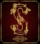 Calligraphic Design Font with Typographic Floral Elements Premium design elements on dark background Page Decoration Retro Vector Gold Letter S