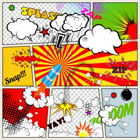 Illustration for Set of Retro Comic Book Vector Design elements, Speech and Thought Bubbles - Royalty Free Image
