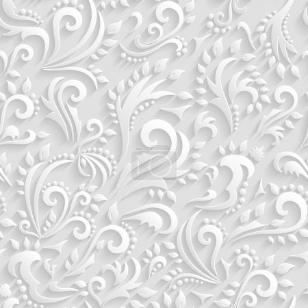 Vector Floral Victorian Seamless Background. Origami 3d Invitation, Wedding, Paper cards Decorative Pattern