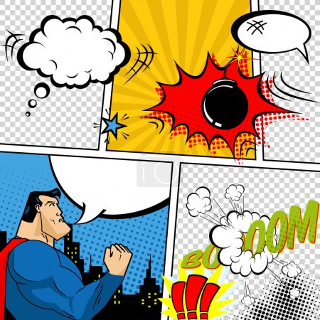 Illustration for Vector Retro Comic Book Speech Bubbles Illustration. Mock-up of Comic Book Page with place for Text, Speech Bubbls, Symbols, Sound Effects, Colored Halftone Background and Superhero - Royalty Free Image