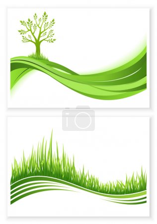 Illustration for Set of green tree and grass growth vector eco concept. Nature background. Collection abstract illustrations with copyspace. - Royalty Free Image