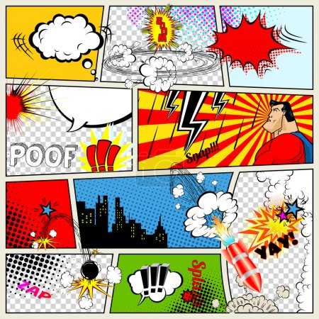 Illustration for Comics Template. Vector Retro Comic Book Speech Bubbles Illustration. Mock-up of Comic Book Page with place for Text, Speech Bubbls, Symbols, Sound Effects, Colored Halftone Background and Superhero - Royalty Free Image