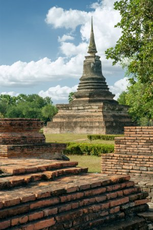 Panorama view of ancient  wat  in Ayutthaya historical park, Thailand