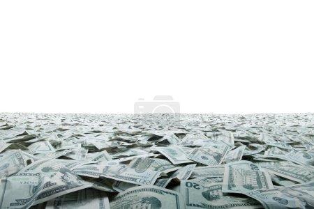 Photo pour Vue rapprochée de l'argent comptant dollars billets en montant - image libre de droit