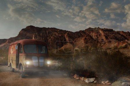 Photo pour Vue panoramique de l'ancienne automobile rouillée antique dans un environnement sauvage ouest - image libre de droit