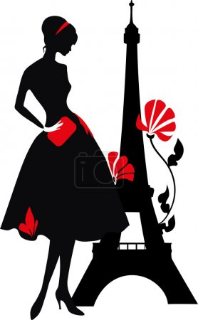 Illustration for Retro woman red and black silhouette with Eiffel Tower - Royalty Free Image