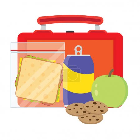 Illustration for Lunch vector illustration. Lunch break concept. Lunch time design. Lunch box, sandwich, soda and an apple. Lunch icon in flat style. Lunch school. Lunch kids image. - Royalty Free Image