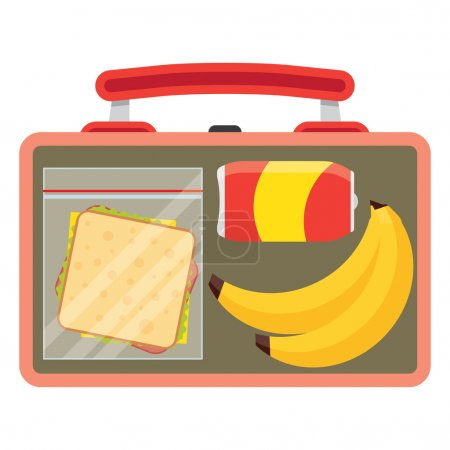 Illustration for Lunch vector illustration. Lunch break concept. Lunch time design. Lunch box, sandwich, soda and an banana. Lunch icon in flat style. Lunch school. Lunch kids image. - Royalty Free Image