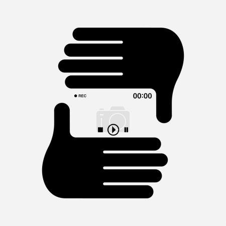 Illustration pour Illustration vectorielle des mains formant le cadre photo . - image libre de droit