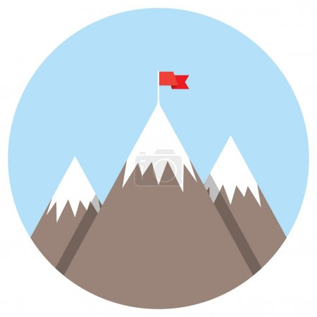 flag on mountain success goal achievement business concept winning of