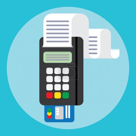 Illustration for Illustration pos machine or credit card terminal. Concept of cashless payment and credit card payment. Credit card machine - Royalty Free Image
