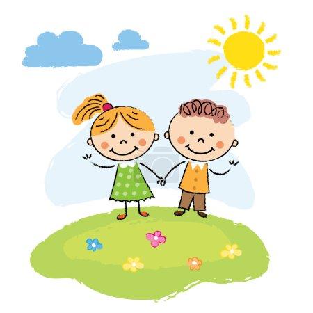 Photo pour Happy cartoon enfants courir à l'extérieur un jour d'été - image libre de droit