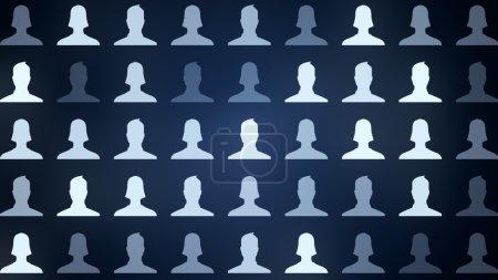 Photo pour Avatars connectés d'hommes et de femmes, d'illustration du réseau pour la communication, des relations d'affaires, les médias sociaux, liens communautaires, illustration 3d - image libre de droit