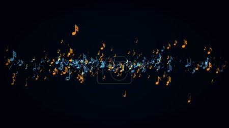 Photo pour Mouvement lent des notes musicales avec profondeur de champ - image libre de droit