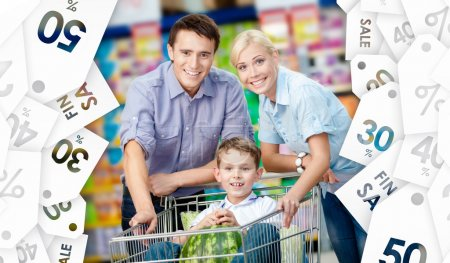 Family drives shopping trolley