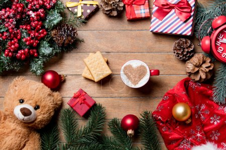 cup of coffee, cookies and christmas decorations