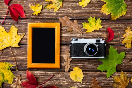 Autumn leafs, camera and frame on wooden table.