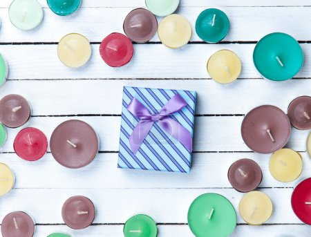 Color candles and gift box