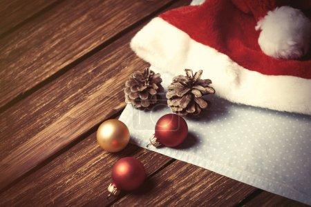 Santas hat and chrsitmas bubbles