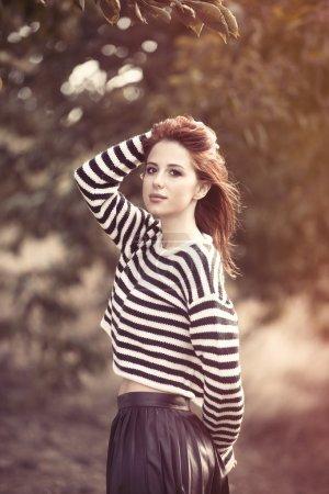 girl in striped sweater