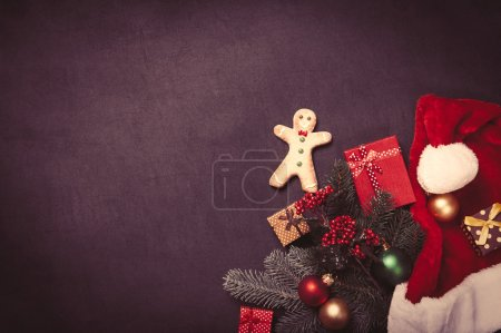 Gingerbread man and christmas gifts