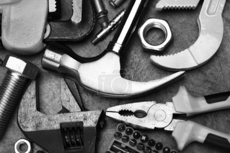 Photo for Hand tools close up. Black and white picture - Royalty Free Image