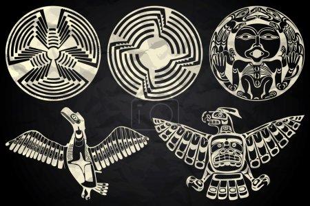 North America and Canada native art in black and white