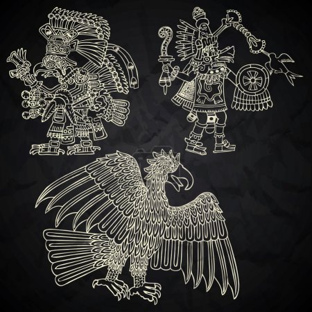 Mexico and Peru native art in black and white