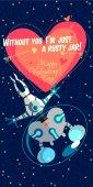 Vektor illustrationabout vesmíru pro valentinky den