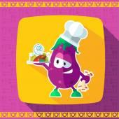 Sada ikon na téma kuchyně. Legrační kuchaři - lilku ve stylu