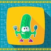 Sada ikon na téma kuchyně. Legrační kuchaři - okurka ve stylu