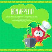 Sada ikon na téma kuchyně. Legrační kuchaři - jablka ve stylu f