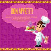 Sada ikon na téma kuchyně. Legrační kuchaři ve stylu ploché