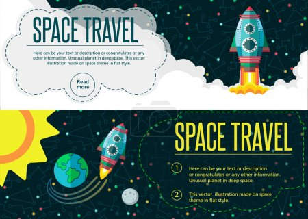 Illustration for Illustration in style flat about outer space. - Royalty Free Image
